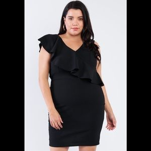 SALE!! Plus Size Black Ruffled Wrap Dress